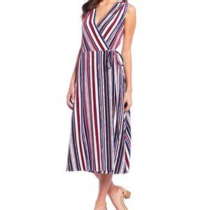 Alex Marie Striped V Neck Midi Crepe Wrap Dress